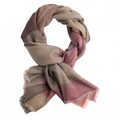 Ternet sjal i rød, brun, beige og grå