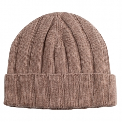 Beige Cashmere Rib Hat