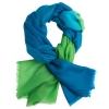 Azure/Vibrant Green cashmere stole