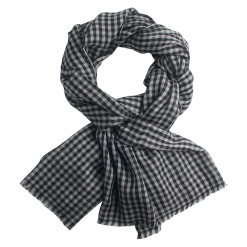 Black/white checkered cashmere stole