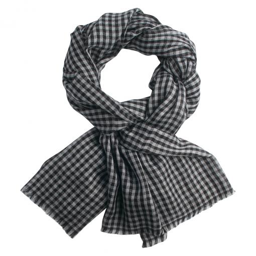 Black/white checkered cashmere stole