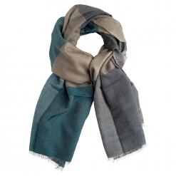 Checkered Cashmere/Silk Shawl blue