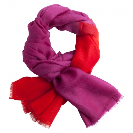Purple and coral shaded cashmere stole