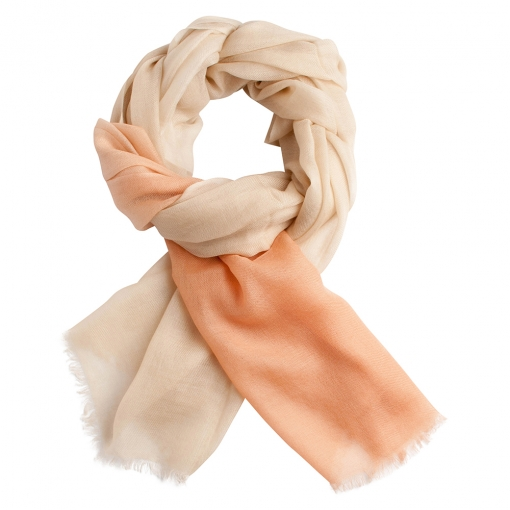 Beige and peach shaded cashmere stole
