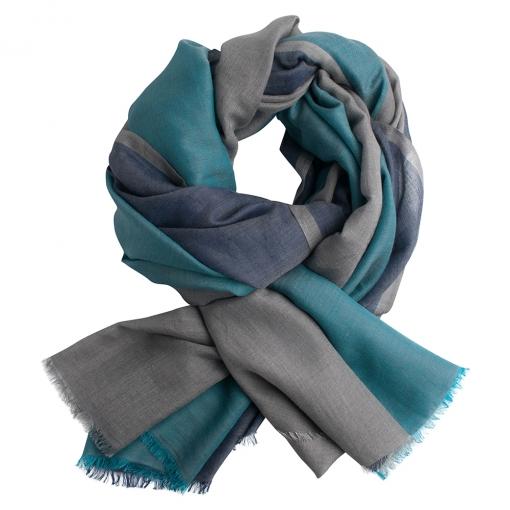 Three coloured shawl - grey and petrol
