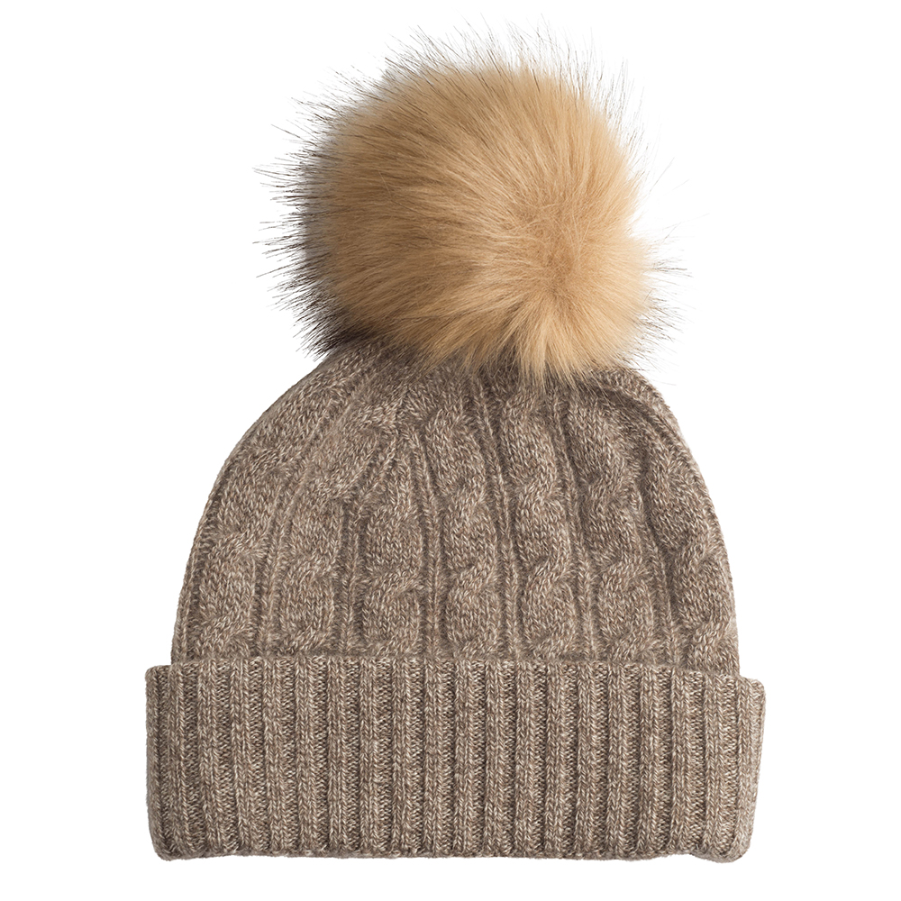 CASHMERE CABLE BEANIE HAT WITH FAUX FUR POM POM - CASHMERE CULTURE 7238ca5088a