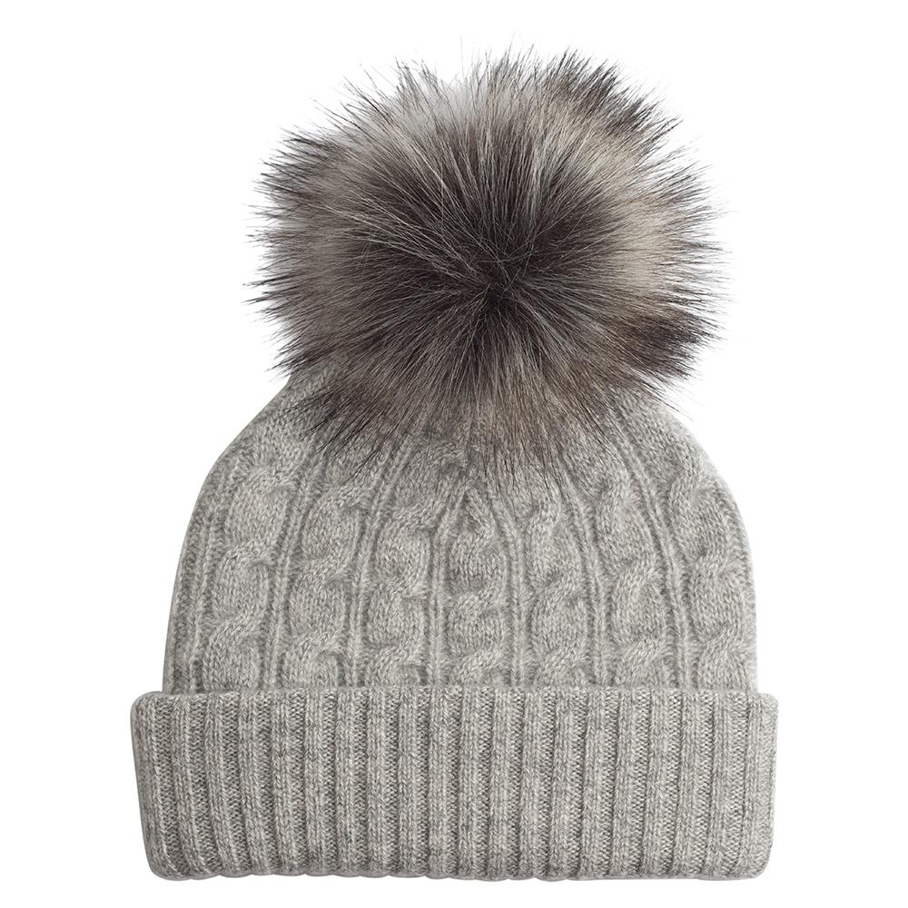 Gray Knit Faux Fur Pom Pom Beanie