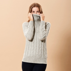 Grey Cashmere Turtle Neck