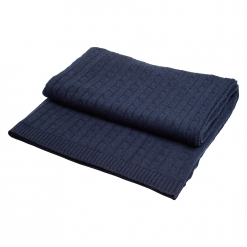 Navy cashmere cableknit blanket