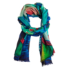 Printet cashmere shawl in turquoise/blue colors