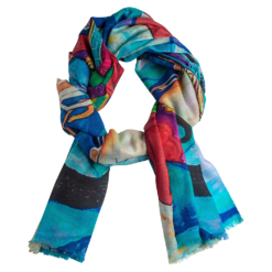 Printet cashmere shawl in blue colors