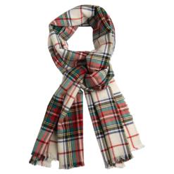Off-white tartan scarf
