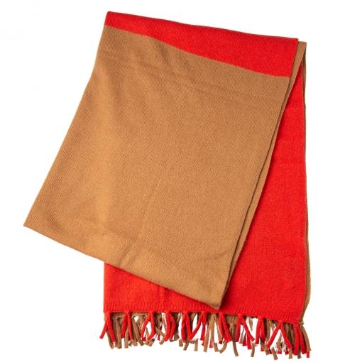 Merino/cashmere scarf - orange/camel